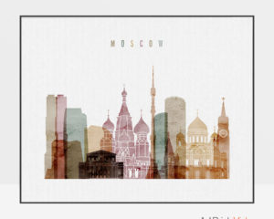 Moscow poster watercolor 1 landscape