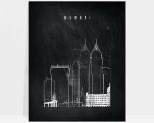 Mumbai chalkboard black white skyline print