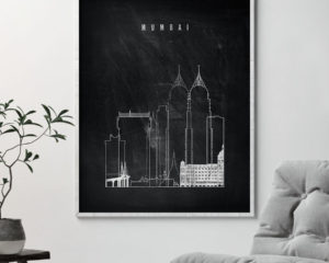 Mumbai chalkboard black white skyline print second