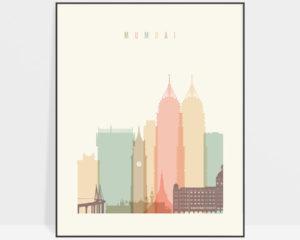 Mumbai art print skyline pastel cream