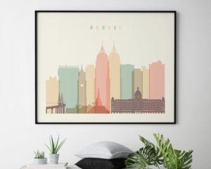 Mumbai poster skyline pastel cream landscape second