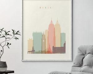 Mumbai art print skyline pastel cream second