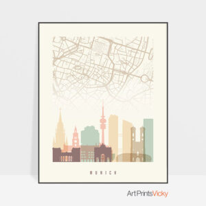 Munich map poster skyline pastel cream