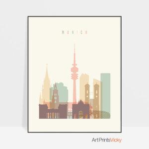 Munich skyline art pastel cream