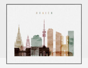 Munich poster watercolor 1 landscape