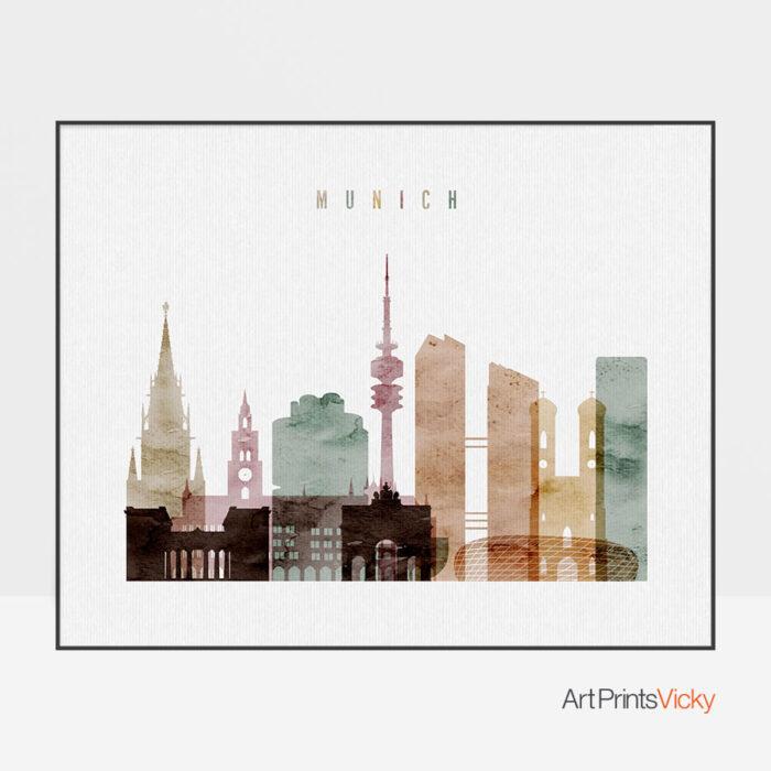 Munich poster watercolor 1 landscape