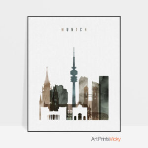 Munich art print watercolor 2