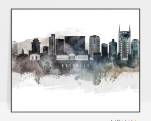 Nashville art poster watercolor