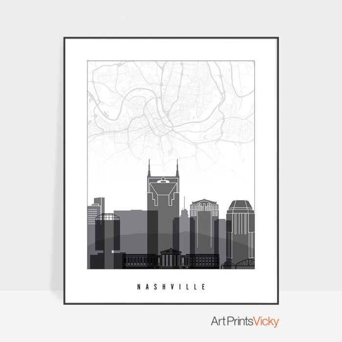 Nashville map print skyline black and white