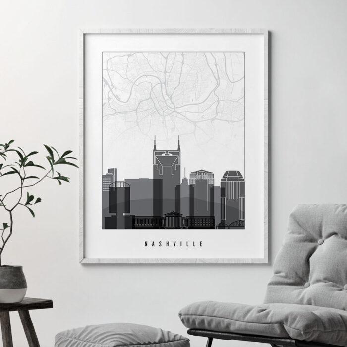 Nashville map print skyline black and white second