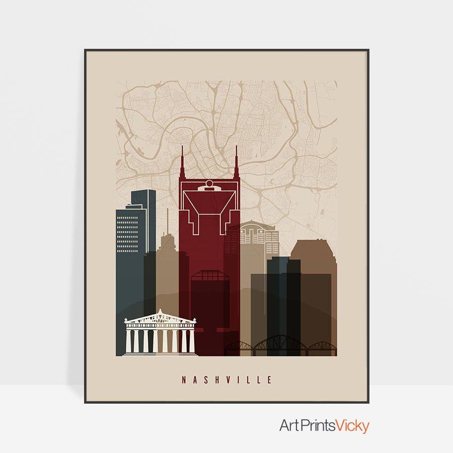 Nashville map poster skyline earth tones 2