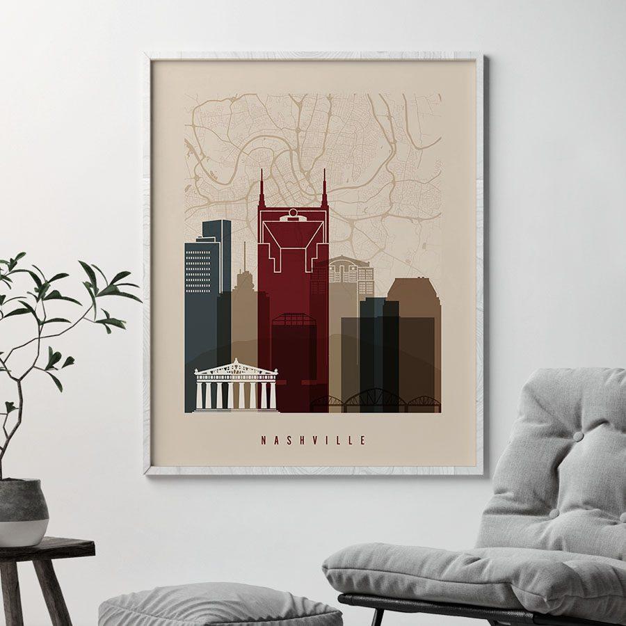 Nashville map poster skyline earth tones 2 second