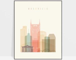 Nashville art print skyline pastel cream
