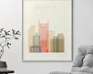 Nashville art print skyline pastel cream second