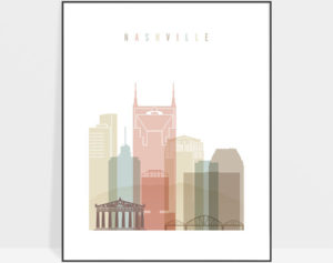 Nashville wall art pastel white