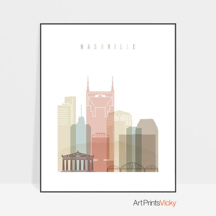 Nashville wall art pastel white