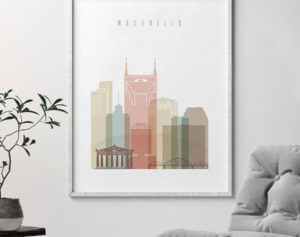 Nashville wall art pastel white second