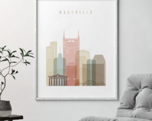 Nashville wall art pastel white second
