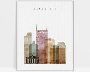 Nashville skyline art watercolor 1