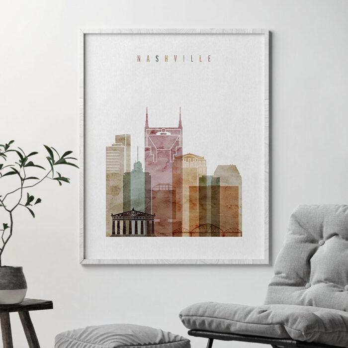 Nashville skyline art watercolor 1 second