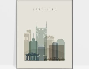 Nashville print skyline earth tones 1