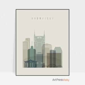 Nashville print skyline earth tones 1