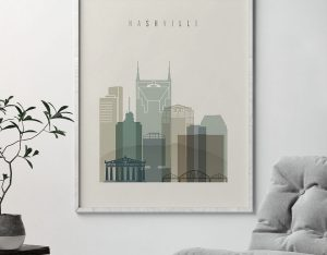 Nashville print skyline earth tones 1 second