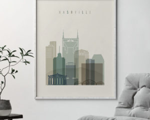Nashville print skyline earth tones 1 second