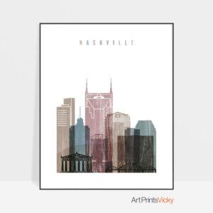 Nashville skyline poster distressed 1