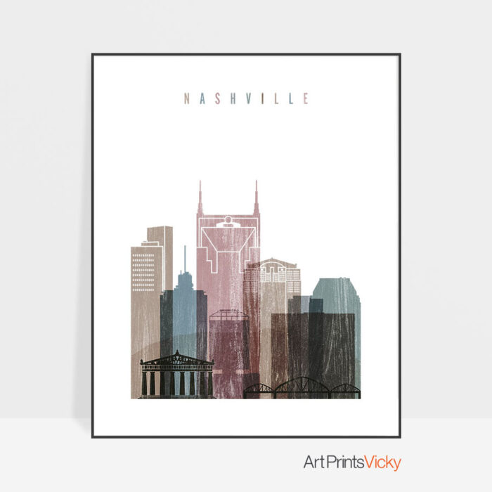 Nashville skyline poster distressed 1