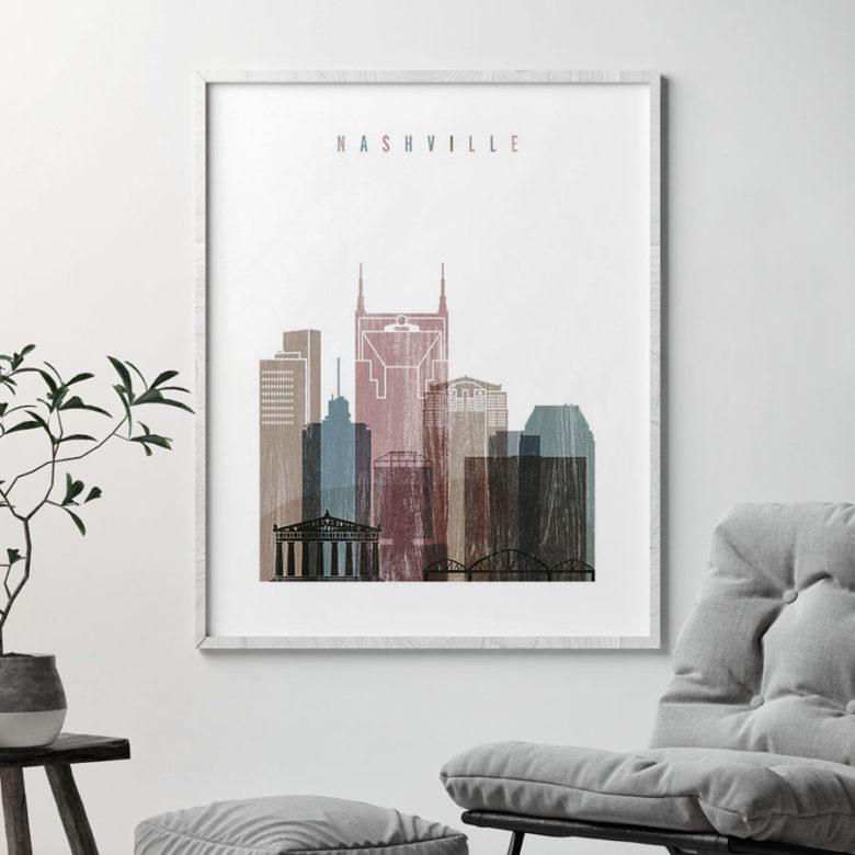 Nashville skyline poster distressed 1 second