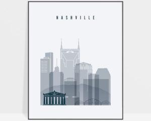 Nashville skyline poster grey blue