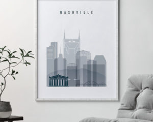 Nashville skyline poster grey blue second