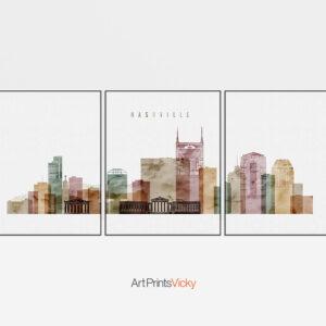 Nashville set of 3 prints skyline watercolor 1