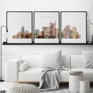Nashville set of 3 prints skyline watercolor 1 second