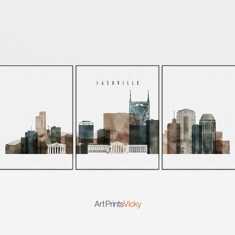 Nashville skyline art set of 3 prints watercolor 2