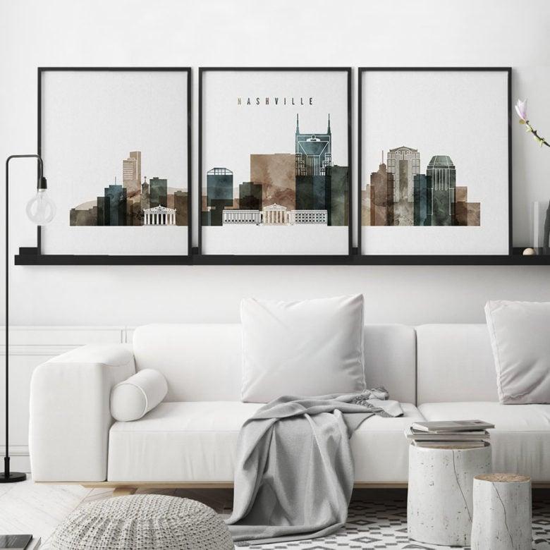 Nashville skyline art set of 3 prints watercolor 2 second