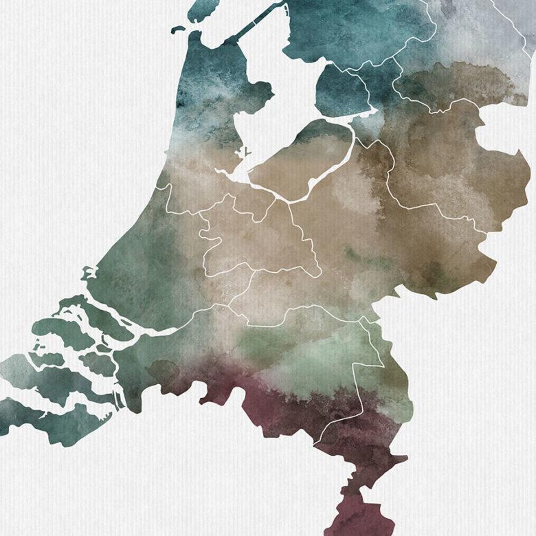 Netherlands map print detail