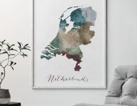 Netherlands map print second