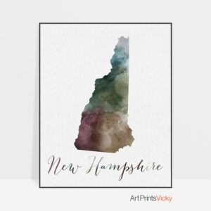 New Hampshire State map print