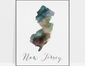 New Jersey State map print