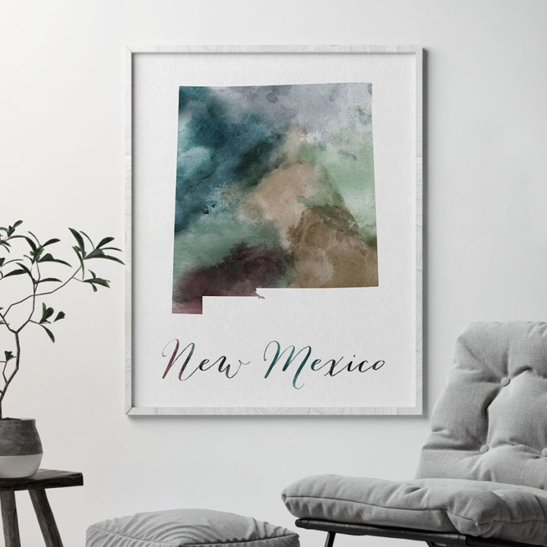 New Mexico State map print second