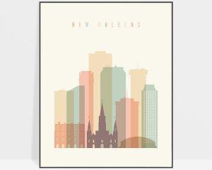 New Orleans art print skyline pastel cream