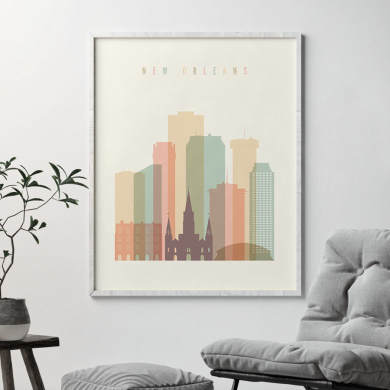 New Orleans art print skyline pastel cream second