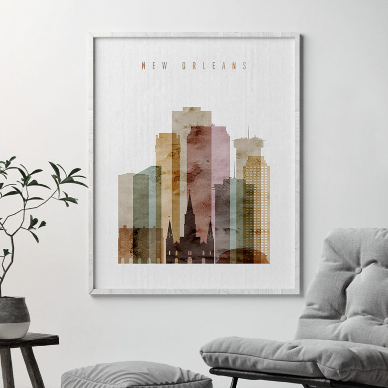 New Orleans skyline art print watercolor 1 second