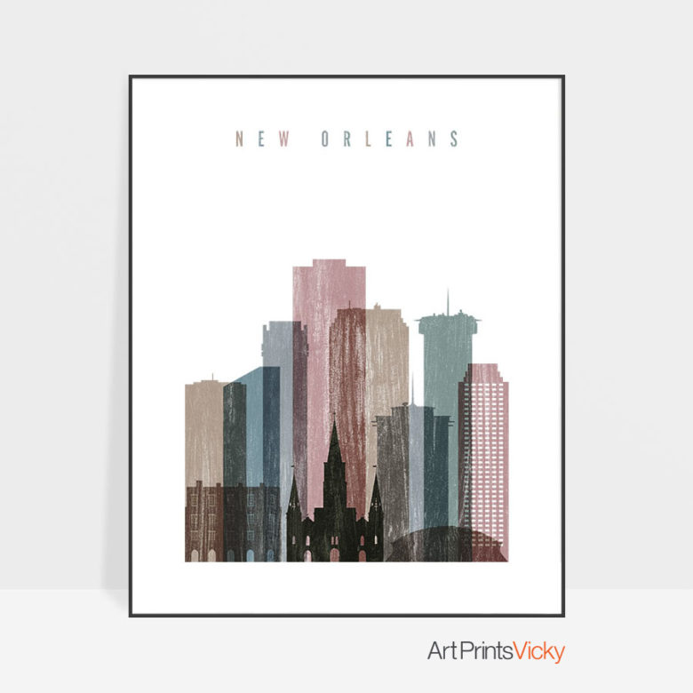 New Orleans skyline poster distressed 1