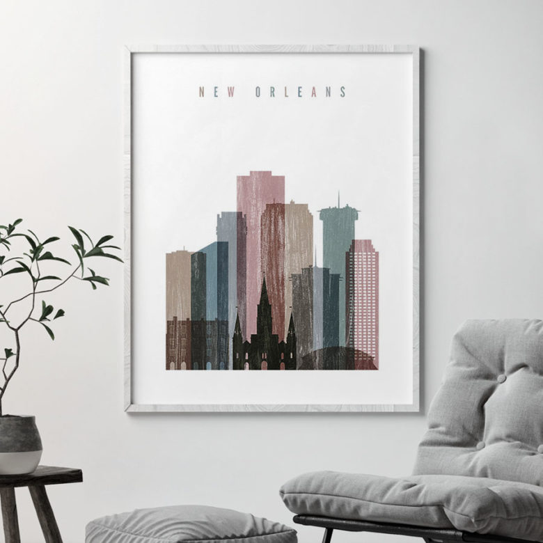 New Orleans skyline poster distressed 1 second