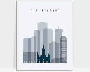 New Orleans skyline poster grey blue
