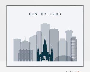 New Orleans skyline art grey blue landscape