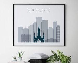 New Orleans skyline art grey blue landscape second